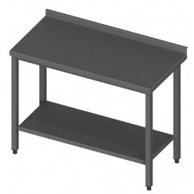 Darba galds nerūsējošā tērauda ar plauktu 100/60/90